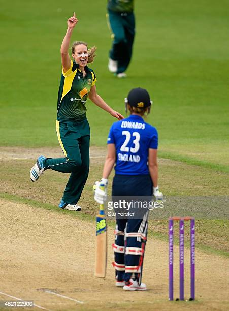 Australia bowler Ellyse Perry celebrates after dismissing Charlotte Edwards during the 3rd Royal London ODI of the Women's Ashes Series between...