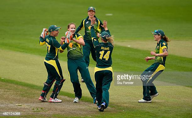 Australia bowler Ellyse Perry celebrates after dismissing Sarah Taylor during the 3rd Royal London ODI of the Women's Ashes Series between England...