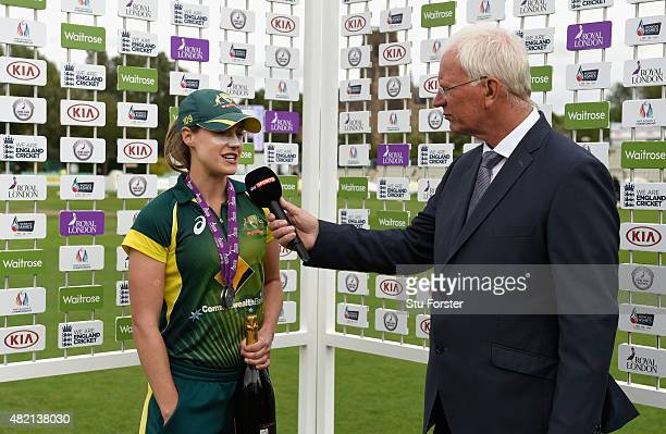 Australia bowler Ellyse Perry player of the series and match speaks to Paul Allott after the 3rd Royal London ODI of the Women's Ashes Series between...
