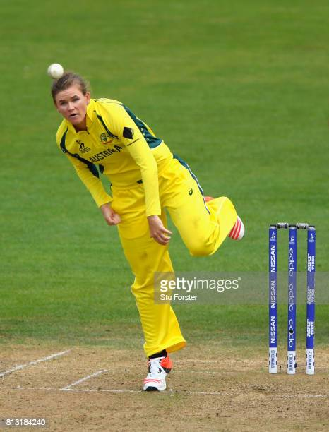 Australia bowler Jess Jonassen in action during the ICC Women's World Cup 2017 match between Australia and India at The County Ground on July 12 2017...