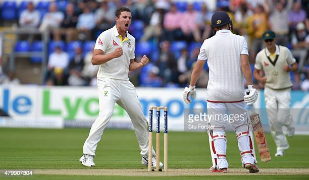 Australia bowler Josh Hazlewood celebrates after dismissing Gary Ballance during day one of the 1st Investec Ashes Test match between England and...