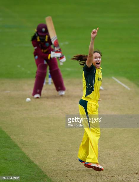 Australia bowler Megan Schutt appeals in vain for the wicket of Felicia Walters during the ICC Women's World Cup 2017 match between Australia and...