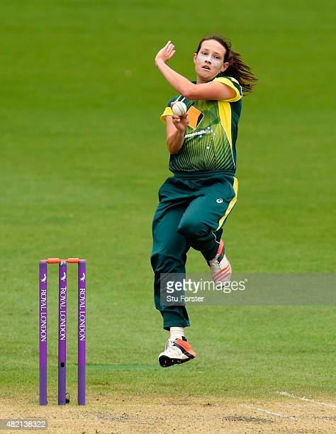 Australia bowler Megan Schutt in action during the 3rd Royal London ODI of the Women's Ashes Series between England and Australia Women at New Road...
