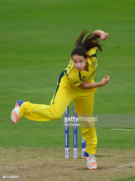 Australia bowler Megan Schutt in action during the ICC Women's World Cup 2017 match between Australia and West Indies at The Cooper Associates County...