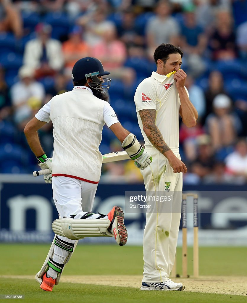Australia bowler Mitchell Johnson reacts as Moeen Ali picks up some runs during day three of the 1st Investec Ashes Test match between England and Australia at SWALEC Stadium on July 10, 2015 in Cardiff, United Kingdom.