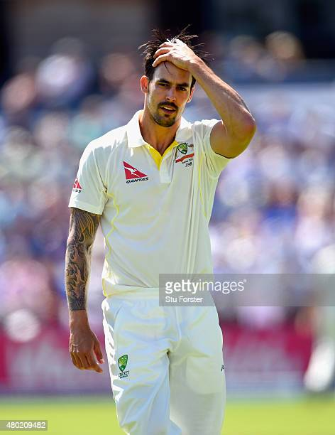 Australia bowler Mitchell Johnson reacts during day three of the 1st Investec Ashes Test match between England and Australia at SWALEC Stadium on...