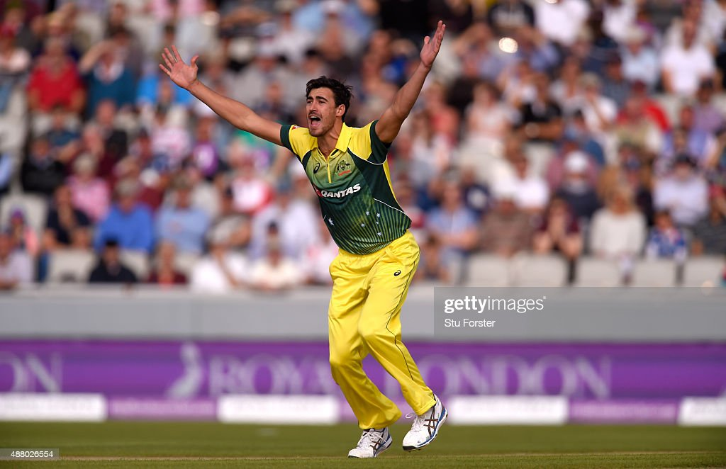 Australia bowler <a gi-track='captionPersonalityLinkClicked' href=/galleries/search?phrase=Mitchell+Starc&family=editorial&specificpeople=6475541 ng-click='$event.stopPropagation()'>Mitchell Starc</a> appeals succesfully for lbw against Jason Roy during the 5th Royal London One-Day International match between England and Australia at Old Trafford on September 13, 2015 in Manchester, United Kingdom.