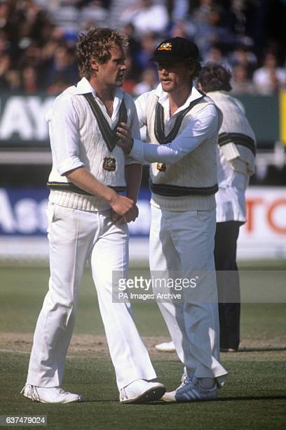 Australia bowler Rodney Hogg chats with Trevor Chappell