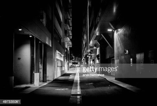 Australia, Canberra, Acton, Street lights illuminate alley at night time.