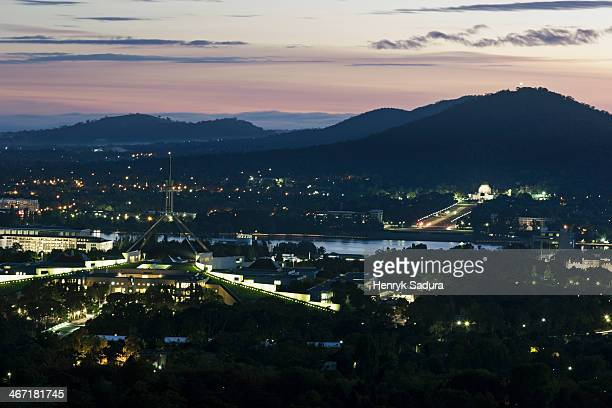 Australia, Canberra, Aerial view of downtown during sunset