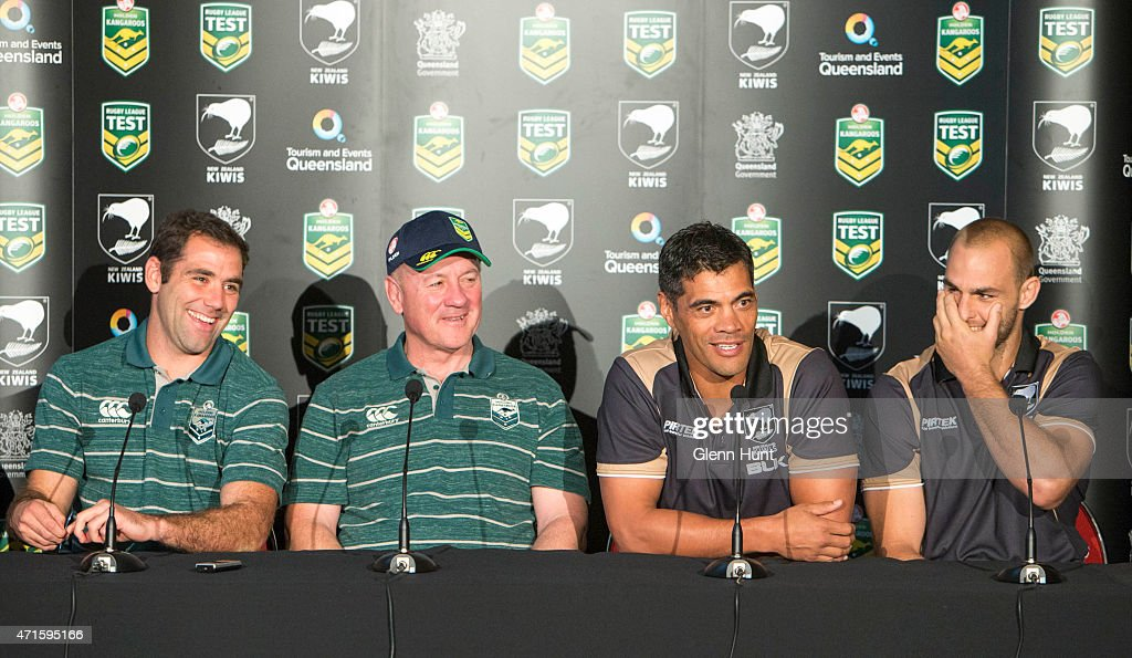 Australia captain Cameron Smith and coach Tim Sheens sit alongside New Zealand coach Stephen Kearney and captain Simon Mannering at a press conference ahead of the international Test match during a press conference at Suncorp Stadium on April 30, 2015 in Brisbane, Australia.