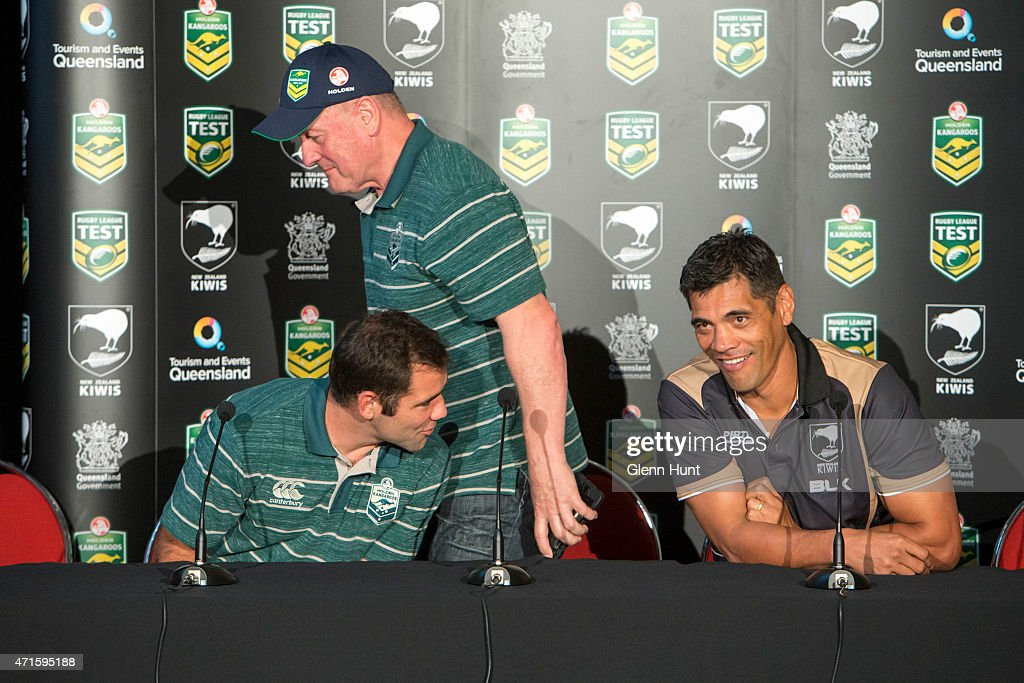 Australia captain Cameron Smith, coach Tim Sheens and New Zealand coach Stephen Kearney share a laugh at a press conference ahead of the international Test match at Suncorp Stadium on April 30, 2015 in Brisbane, Australia.