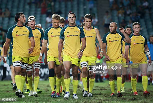 Australia captain Ed Jenkins leads his team away after their warm up prior to their match against New Zealand during the 2016 Sydney Sevens at...