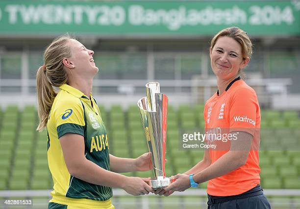 Australia captain Meg Lanning and England captain Charlotte Edwards pose with ICC Womens World T20 trophy ahead tomorrow's final at ShereBangla...