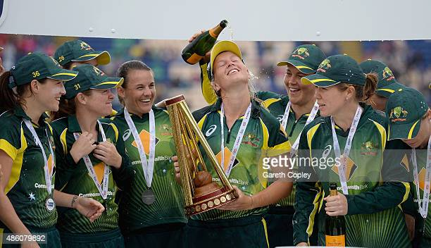Australia captain Meg Lanning lifts the Women's Ashes Trophy after the 3rd NatWest T20 of the Women's Ashes Series between England and Australia...