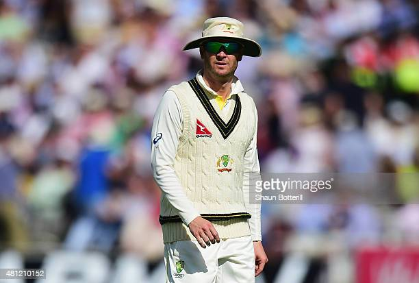 Australia captain Michael Clark leaves the field between innings during day three of the 2nd Investec Ashes Test match between England and Australia...