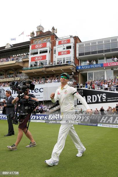 Australia captain Michael Clarke as he walks out during his final test match