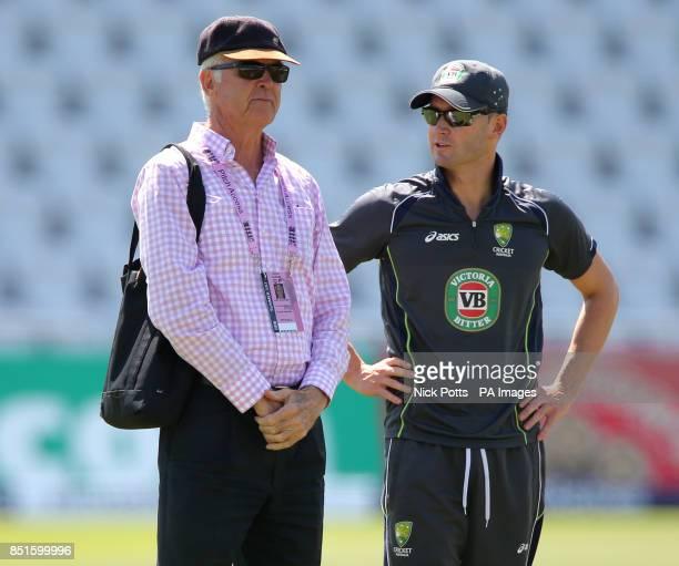 Australia captain Michael Clarke talks with Australia chairman of selectors John Inveraity during the nets session at Trent Bridge Nottingham