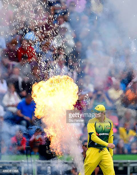 Australia captain Steven Smith leads out his team before the NatWest T20 International match between England and Australia at SWALEC Stadium on...