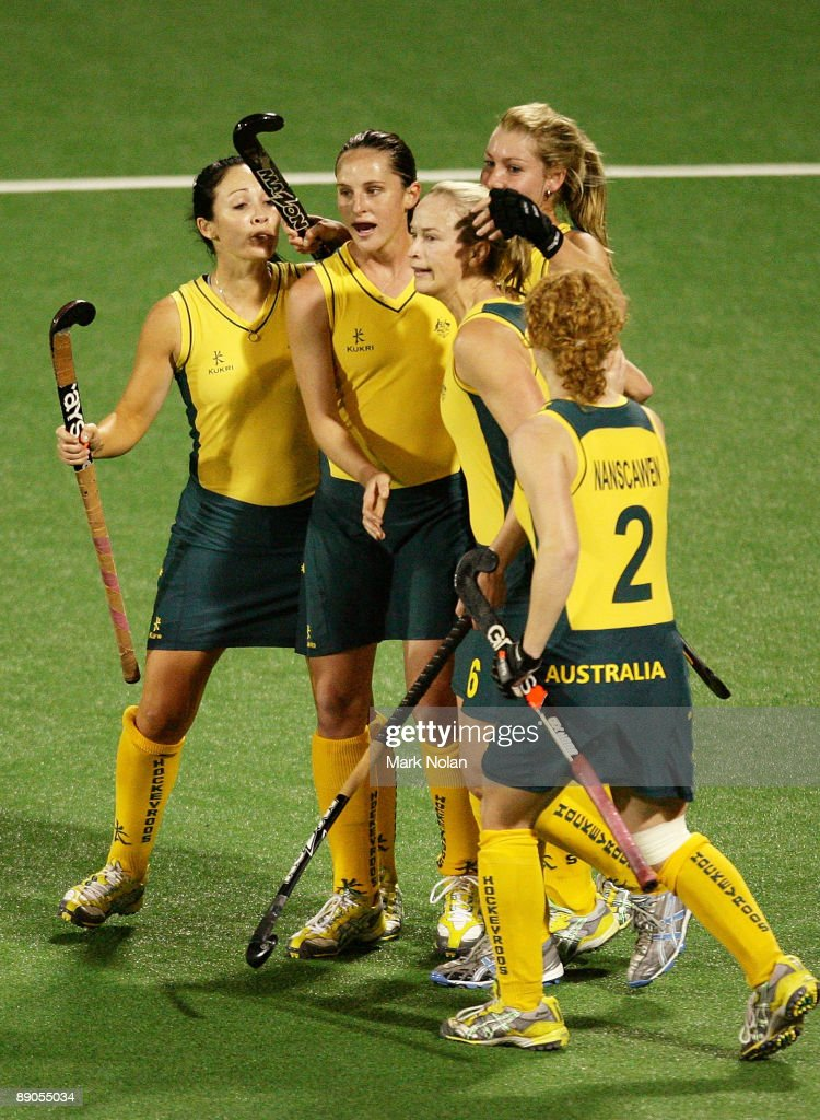 Australia celebrate a goal by Casey Eastham during the Women's Hockey Champions Trophy match between England and the Australian Hockeyroos at Sydney...