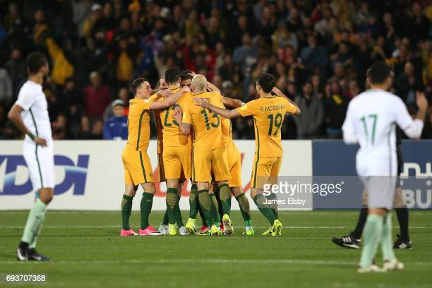 Australia celebrate a goal during the 2018 FIFA World Cup Qualifier match between the Australian Socceroos and Saudi Arabia at the Adelaide Oval on...