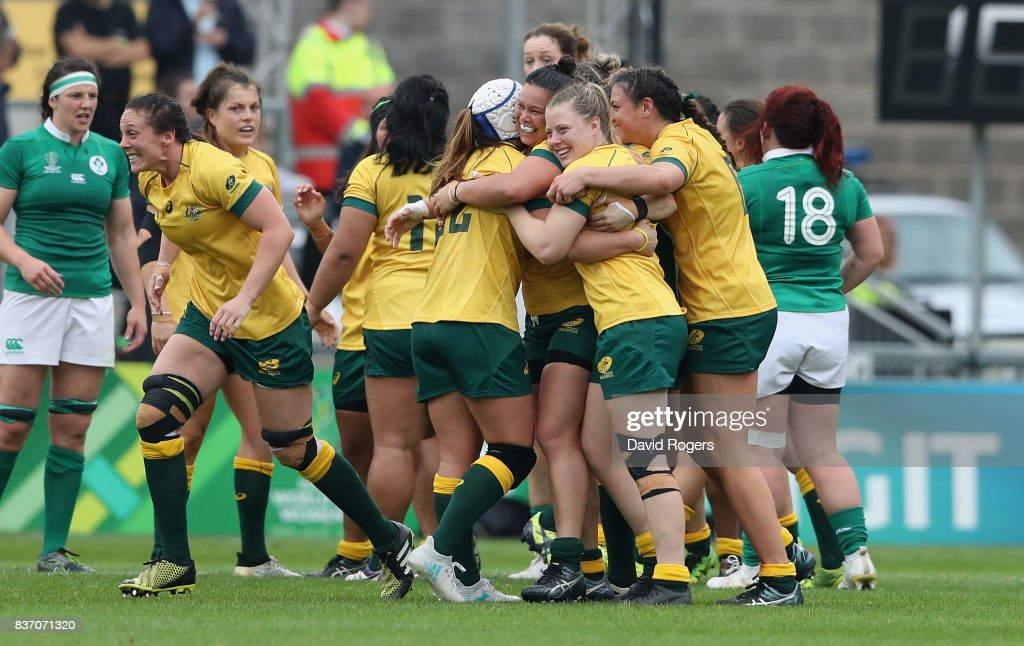 Australia celebrate after their victory during the Women's Rugby World Cup 2017 match between Ireland and Australia at the Kingspan Stadium on August 22, 2017 in Belfast, United Kingdom.