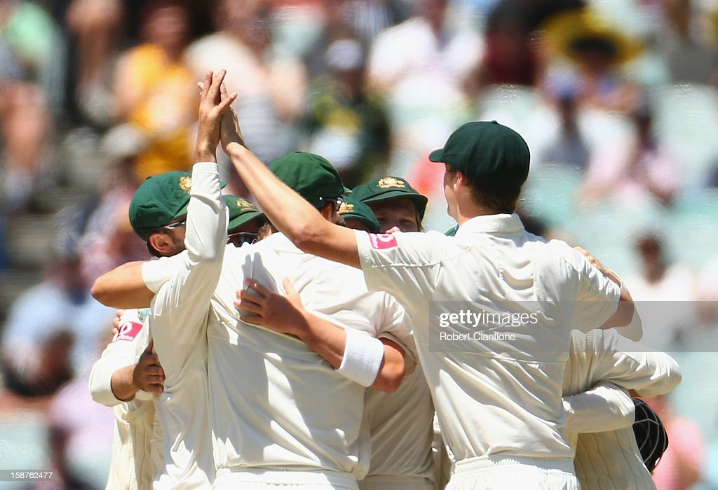 Australia celebrate after they defeated Sri Lanka on day three of the Second Test match between Australia and Sri Lanka at Melbourne Cricket Ground on December 28, 2012 in Melbourne, Australia.