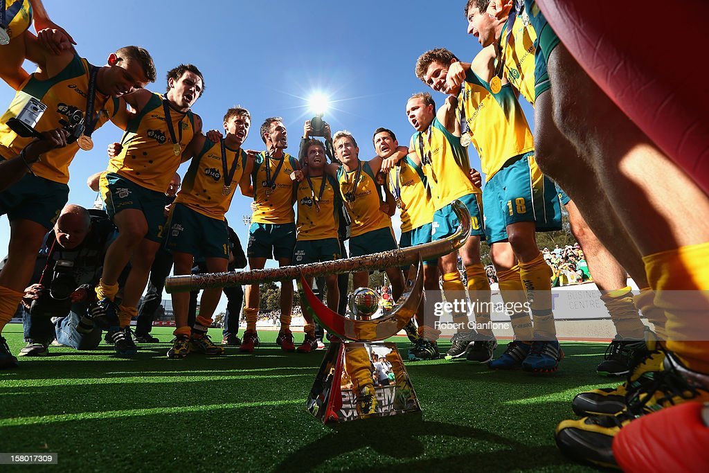 Australia celebrate after they defeated the Netherlands in the final of the 2012 Champions Trophy at State Netball Hockey Centre on December 9, 2012 in Melbourne, Australia.