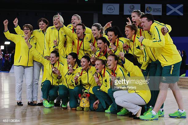 Australia celebrate after winning the gold medal match between Australia and New Zealand at SECC Precinct during day eleven of the Glasgow 2014...
