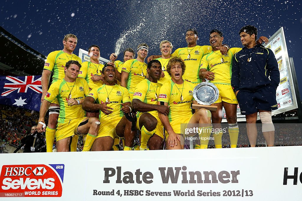 Australia celebrate after winning the plate final during the 2013 Wellington Sevens at Westpac Stadium on February 2, 2013 in Wellington, New Zealand.
