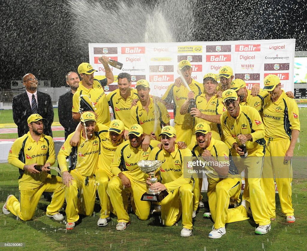 Australia celebrate during the Tri-Nation Series One-day International (ODI) Final between West Indies and Australia at the Kensington Oval on June 26, 2016 in in Bridgetown, Barbados.