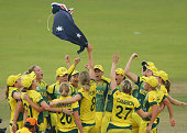 Australia celebrate on the pitch after winning the Final of the ICC Women's World Twenty20 Bangladesh 2014 between Australia Women and England Women...