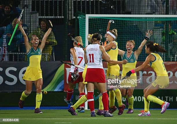 Australia celebrate their goal during the Women's Gold Medal Match against England at Glasgow National Hockey Centre during day ten of the Glasgow...