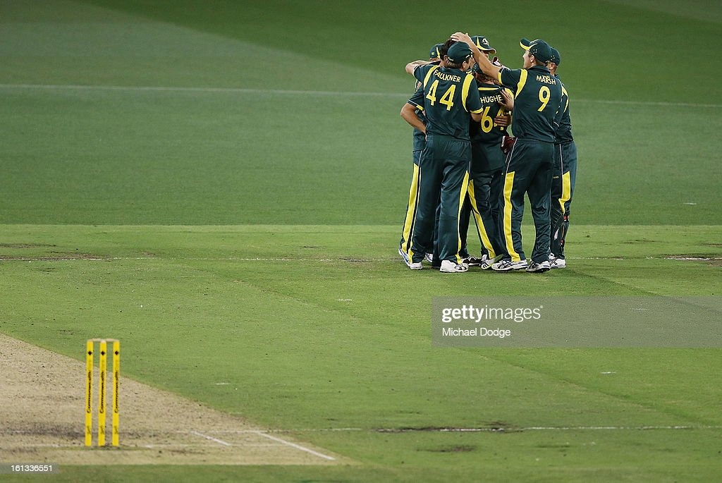 Australia celebrate their win during game five of the Commonwealth Bank International Series between Australia and the West Indies at Melbourne Cricket Ground on February 10, 2013 in Melbourne, Australia.