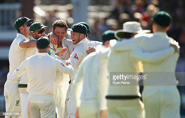 Australia celebrate victory after Josh Hazlewood of Australia claimed the final wicket of James Anderson of England during day four of the 2nd...