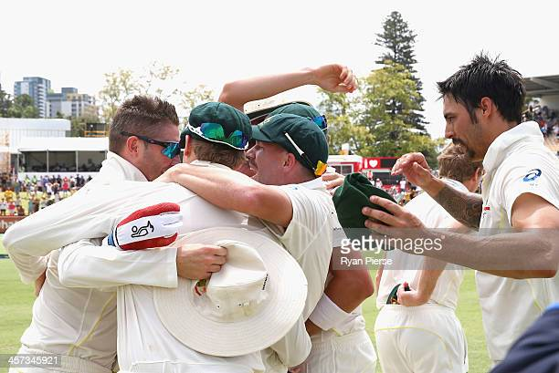 Australia celebrate victory during day five of the Third Ashes Test Match between Australia and England at WACA on December 17 2013 in Perth Australia