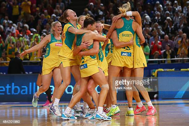 Australia celebrate victory during the 2015 Netball World Cup Gold Medal match between Australia and New Zealand at Allphones Arena on August 16 2015...