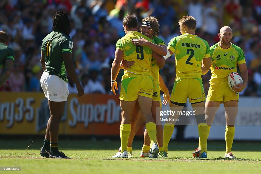 Australia celebrate victory during the 2016 Sydney Sevens cup semi final match between Australia and South Africa at Allianz Stadium on February 7, 2016 in Sydney, Australia.