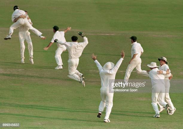 Australia celebrate winning the 5th Test match between England and Australia at Trent Bridge Nottingham 10th August 1997 The fielders for Australia...