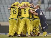 Australia celebrate winning the ICC Womens World Twenty20 Bangladesh 2014 Final between England and Australia at ShereBangla Mirpur Stadium on April...