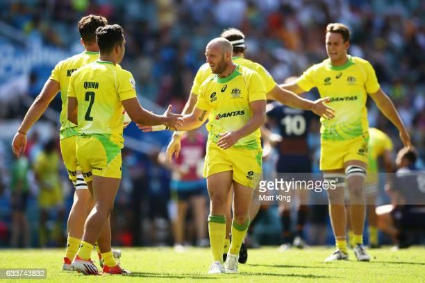 Australia celebrate winning the mens pool match between Australia and Scotland in the 2017 HSBC Sydney Sevens at Allianz Stadium on February 4 2017...