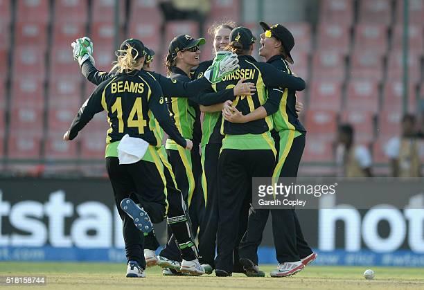 Australia celebrate winning the Women's ICC World Twenty20 India 2016 Semi Final between England and Australia at Feroz Shah Kotla Ground on March 30...