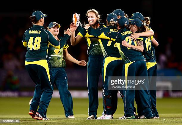 Australia celebrate with Ellyse Perry after she bowls out Natalie Sciver of England during the 2nd NatWest T20 of the Women's Ashes Series between...