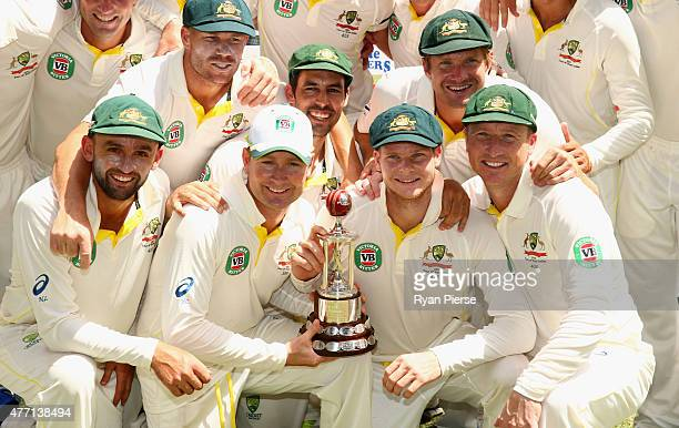Australia celebrate with the Frank Worrell Trophy during day four of the Second Test match between Australia and the West Indies at Sabina Park on...
