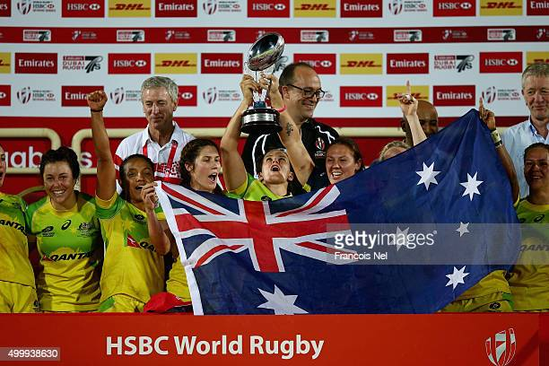 Australia celebrates after winning the Emirates Dubai Rugby Sevens HSBC World Rugby Women's Sevens Series Cup Final on December 4 2015 in Dubai...