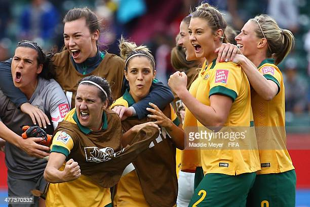 Australia celebrates led by Lisa De Vanna of Australia center after their 11 tie against Sweden during the Women's World Cup 2015 Group D match at...