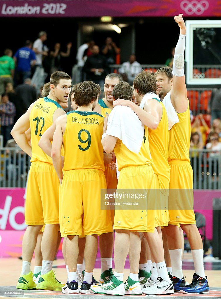 Australia celebrates their 81-61 victory over China following their Men's Basketball Preliminary Round match on Day 6 of the London 2012 Olympic Games at Basketball Arena on August 2, 2012 in London, England.