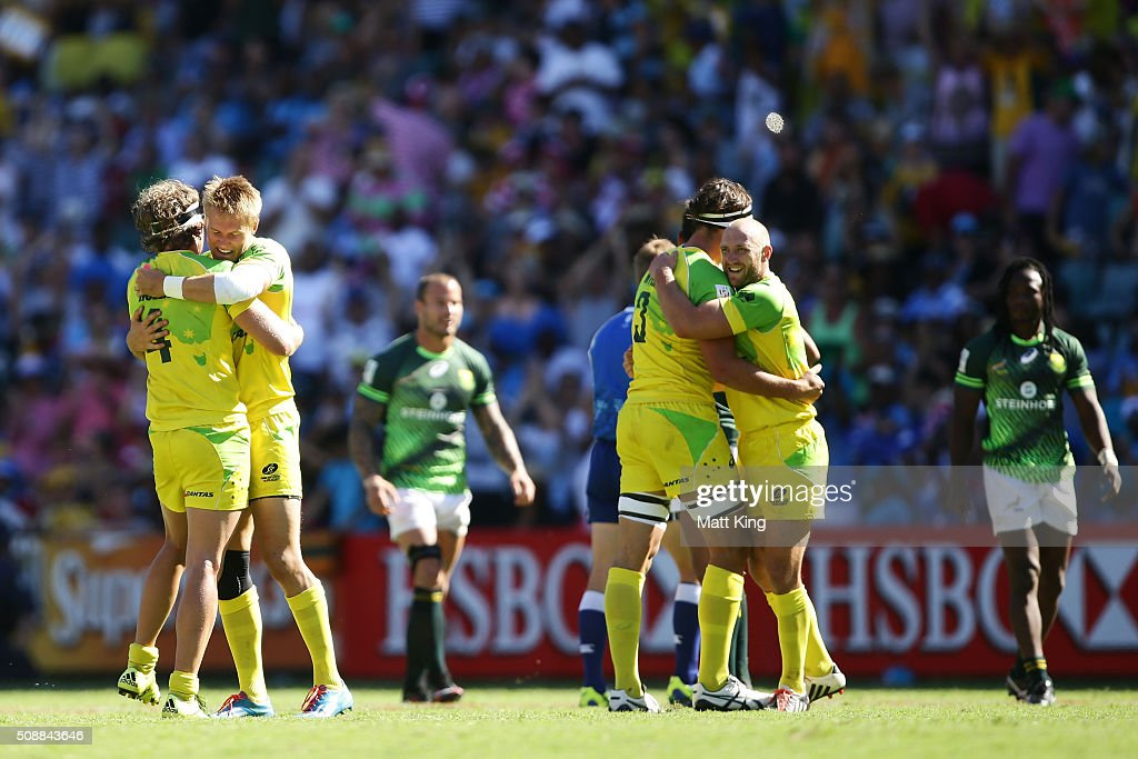 Australia celebrates their win in the 2016 Sydney Sevens Cup Semi Final match between Australia and South Africa at Allianz Stadium on February 7, 2016 in Sydney, Australia.