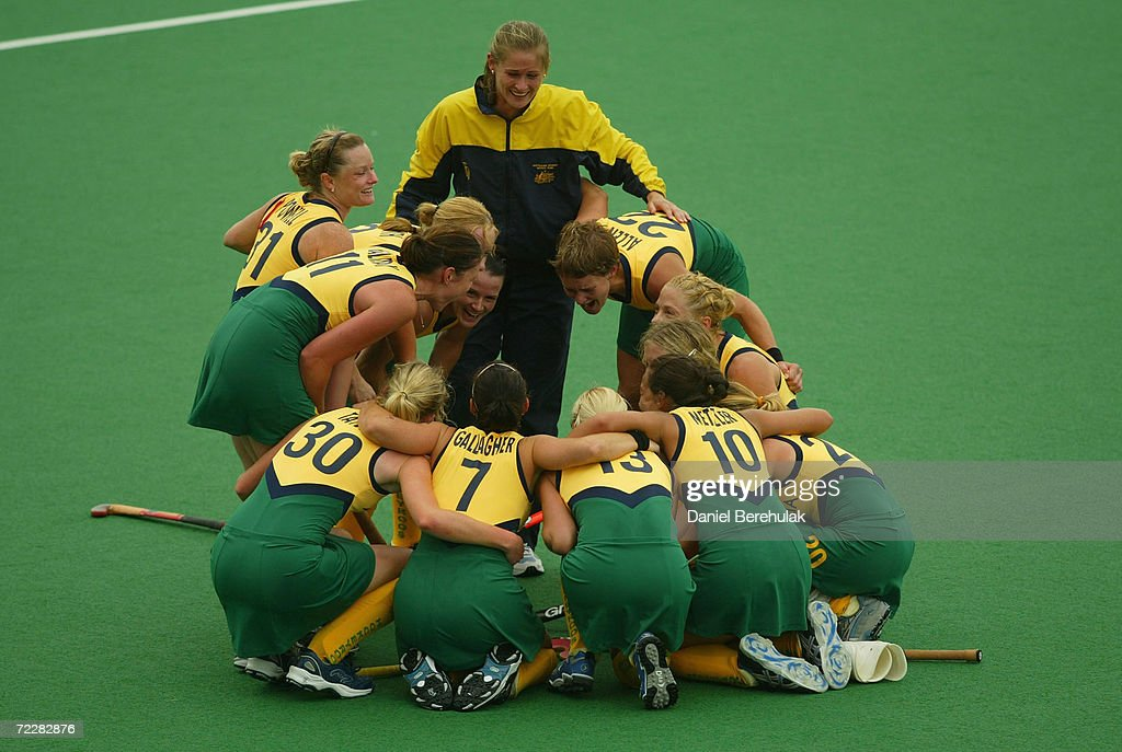 Australia celebrates victory during the BDO Hockey Champions Trophy gold medal match between Australia and China at the Sydney Olympic Park Hockey...