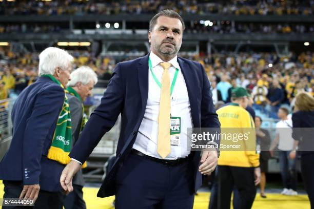 Australia Coach Ange Postecoglou looks on during the 2018 FIFA World Cup Qualifiers Leg 2 match between the Australian Socceroos and Honduras at ANZ...